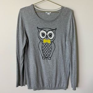 Old Navy Grey Owl Sweater Large 151